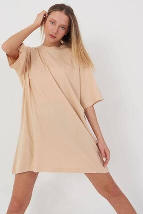 Addax Kadın Bej Oversize T-Shirt P0731 - G6K7 Adx-0000020596 1