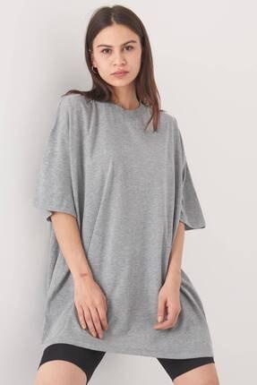Addax Kadın Gri Melanj Oversize T-Shirt P0731 - G6K7 Adx-0000020596 1