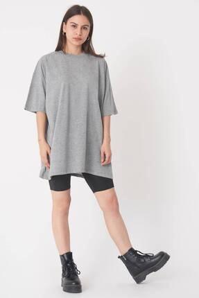 Addax Kadın Gri Melanj Oversize T-Shirt P0731 - G6K7 Adx-0000020596 3