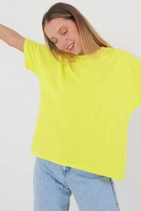 Addax Kadın Fıstık Yeşil Oversize Basic T-Shirt P0730 - J6J7 Adx-0000020569 1