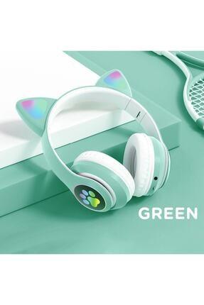 BLUPPLE Kablosuz Bluetooth 5.0 Led Işıklı Sevimli Kedili Şık Tasarım Kulaklık Yeşil Renk 2