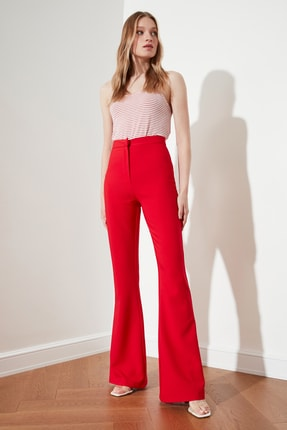 TRENDYOLMİLLA Kırmızı İspanyol Paça Pantolon TOFAW19BB0581 1