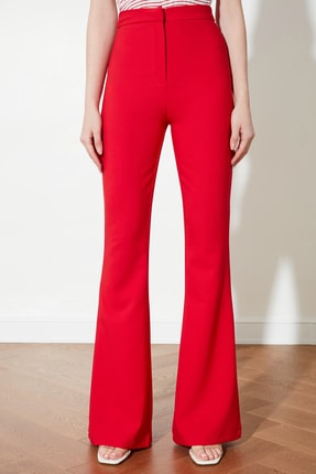 TRENDYOLMİLLA Kırmızı İspanyol Paça Pantolon TOFAW19BB0581 3