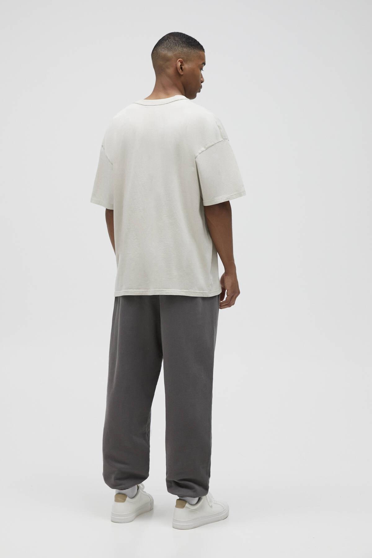 Pull & Bear Erkek Kemik Basic Loose Fit T-Shirt 04241517 3