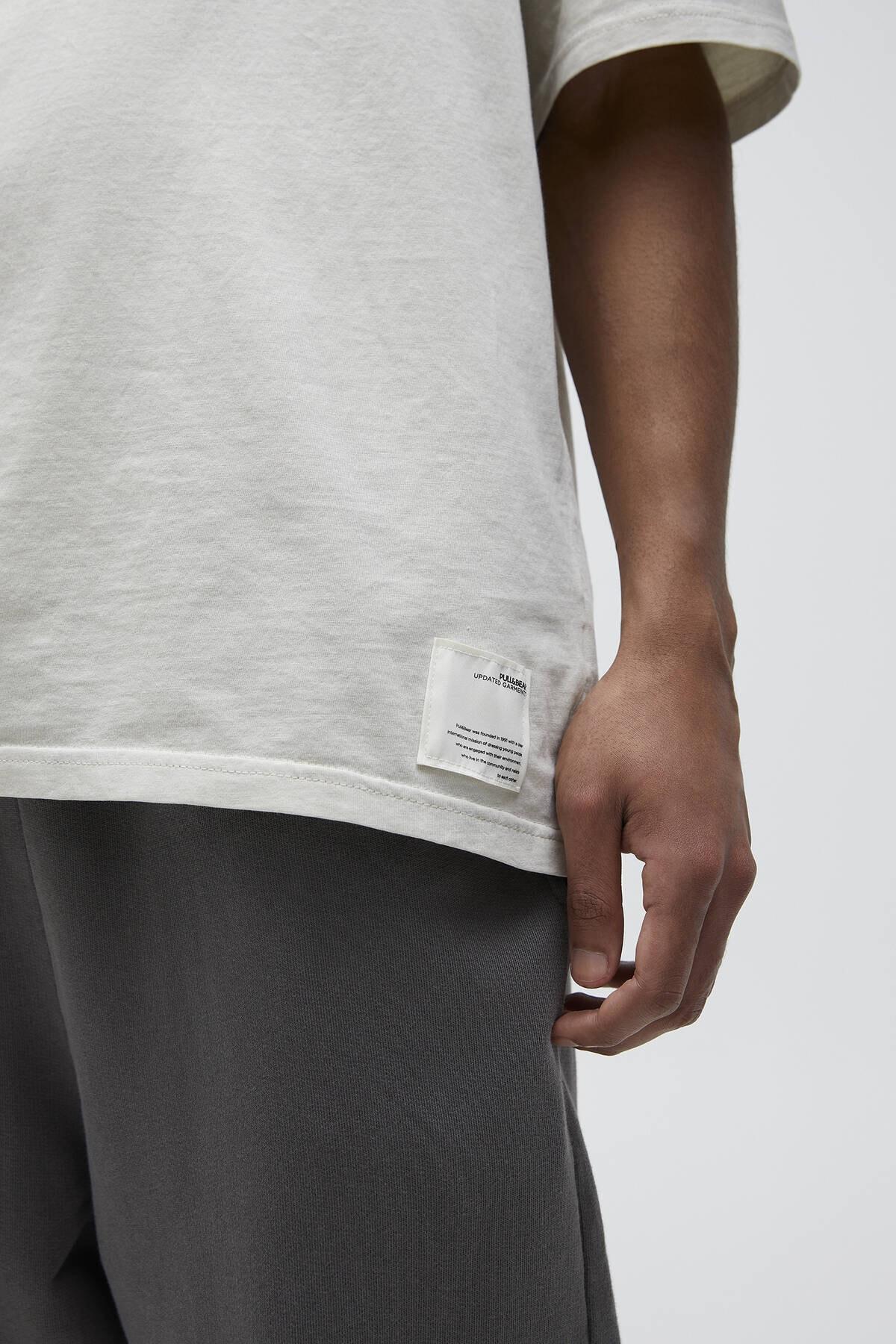 Pull & Bear Erkek Kemik Basic Loose Fit T-Shirt 04241517 4