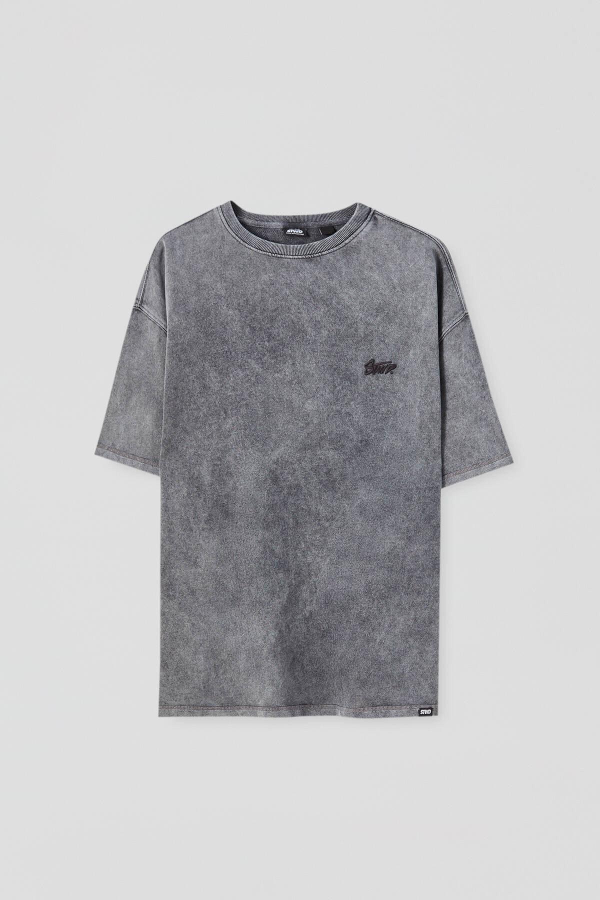 Pull & Bear Erkek Siyah Penye Stwd İşlemeli T-Shirt 04591520 4