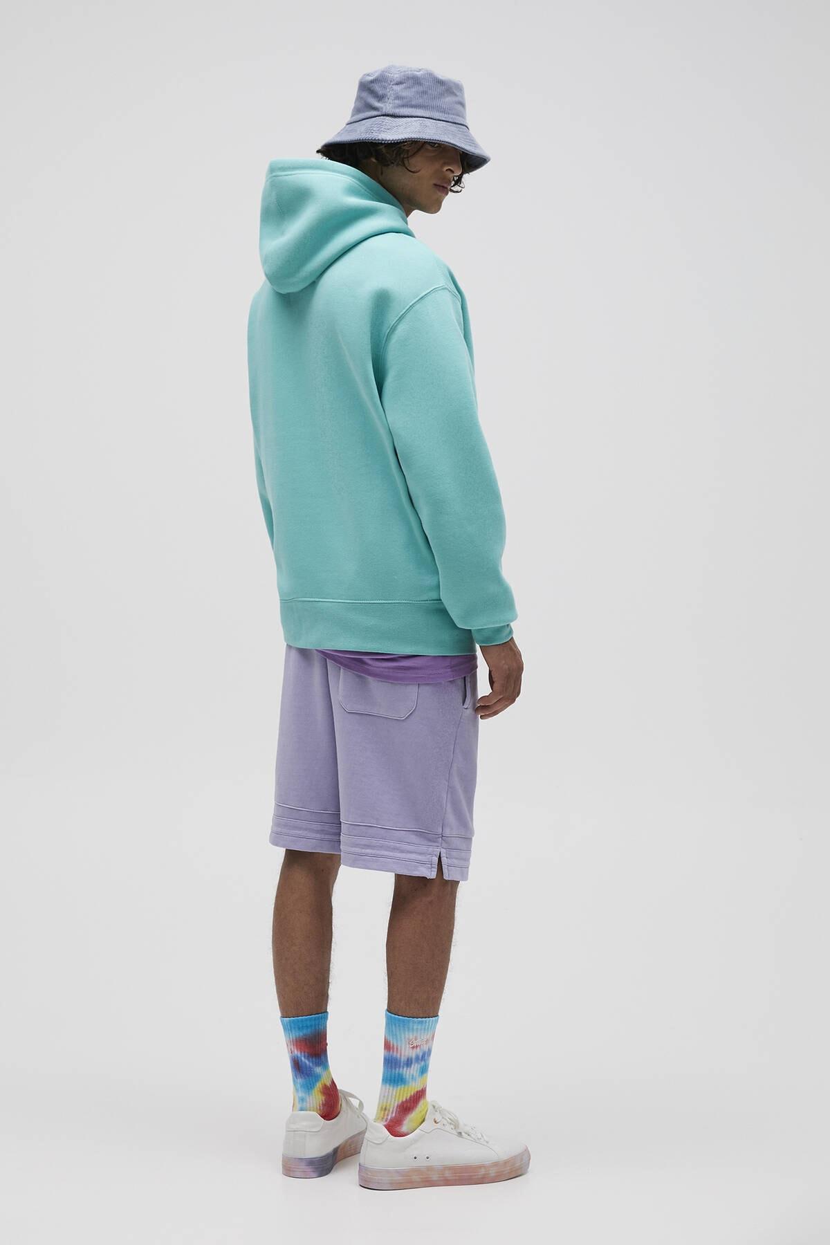 Pull & Bear Erkek Açık Yeşil Basic Comfort Fit Kapüşonlu Sweatshirt 09594913 3