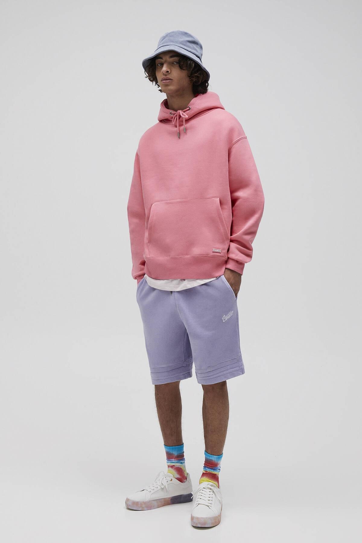 Pull & Bear Erkek Mercan Basic Comfort Fit Kapüşonlu Sweatshirt 09594913 2