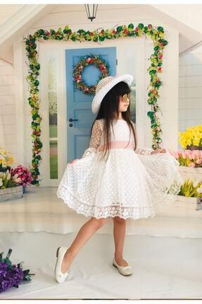 Mixie Kız Çoçuk Beyaz Şapkalı Güpürlü Prenses Model  Elbisesi 1