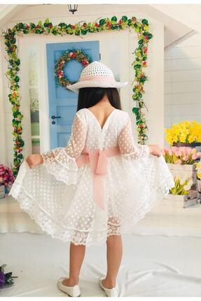 Mixie Kız Çoçuk Beyaz Şapkalı Güpürlü Prenses Model  Elbisesi 3