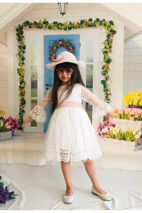Mixie Kız Çoçuk Beyaz Şapkalı Güpürlü Prenses Model  Elbisesi 4