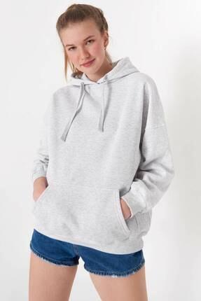 Addax Kadın Kar Melanj Kapüşonlu Sweatshirt S0519 - P10V1 Adx-0000014040 0