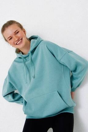 Addax Kadın Mint Kapüşonlu Sweatshirt S0519 - P10V1 Adx-0000014040 0