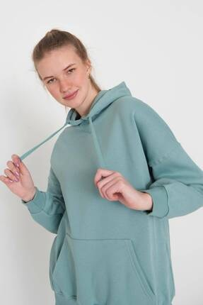 Addax Kadın Mint Kapüşonlu Sweatshirt S0519 - P10V1 Adx-0000014040 3
