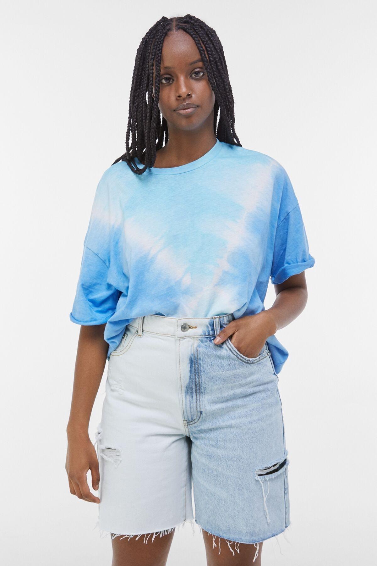 Bershka Kadın Açık Mavi Yanları Dikişli İki Renkli Denim Bermuda 02663534 0