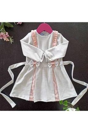 Dolly Baby Kız Çocuk Beyaz Ve Pembe Desenli Elbise 0