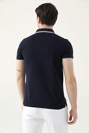 D'S Damat Erkek Lacivert Slim Fit Pike Dokulu T-Shirt 3