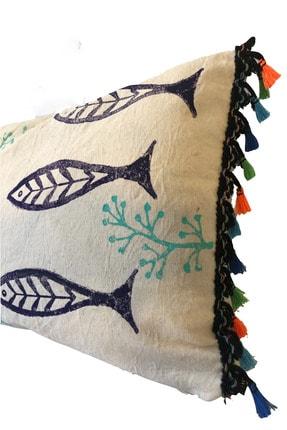 heybelioda Ham Gabardin Kumaş Özel Tasarım Balık Desen Baskı Boyama Püsküllü Dekoratif Kırlent Yastık Kılıfı 1