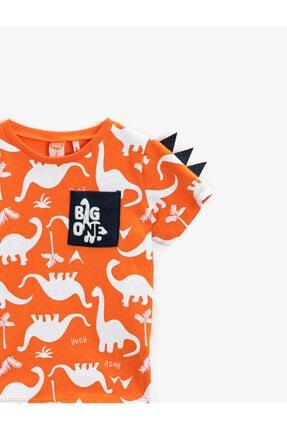 Koton Erkek Bebek Turuncu Dinozor Kısa Kollu Bisiklet Yaka Pamuklu T-Shirt 2