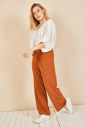 Moda Bu Kadın Kiremit Beli Lastikli Bol Paça Salaş Yazlık Pantolon 4