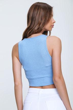 Trend Alaçatı Stili Kadın Mavi Dekolteli Crop Kaşkorse Bluz ALC-X6077 2