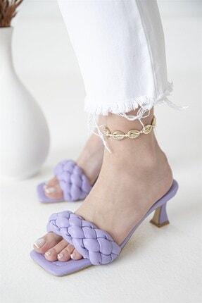 Straswans Kadın Topuklu Küt Burun Deri Sandalet Lila 2