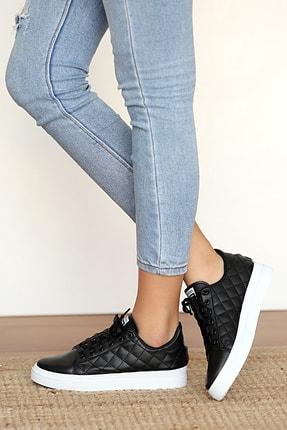 Pembe Potin Kadın Siyah Sneakers 1