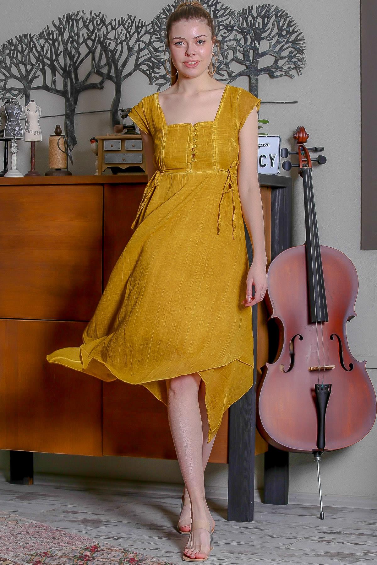 Chiccy Kadın Hardal Kare Yaka Düğme Detaylı Yanı Bağlamalı Asimetrik Yıkamalı Elbise M10160000EL95344 3