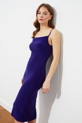 TRENDYOLMİLLA Mor Degaje Yaka Örme Elbise TWOSS19AD0020 3
