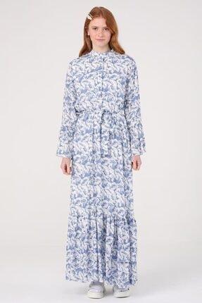 Ruffle Blue Elbise ML227720