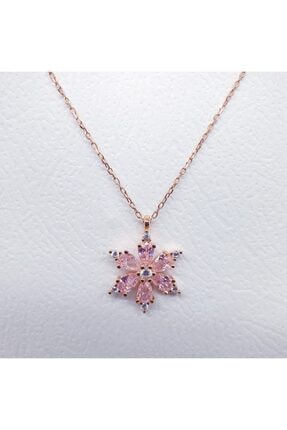 MAGRİB Kadın Pembe Lotus Çiçeği Gümüş Kolye 0