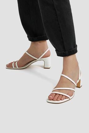 Pull & Bear Kadın Ekru İnce Bantlı Topuklu Sandalet 1