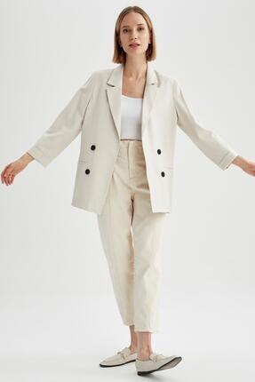 Defacto Kadın Ekru Oversize Fit Blazer Ceket 1
