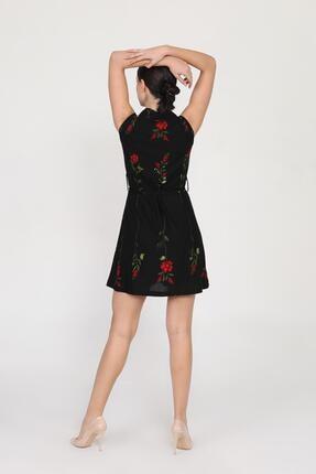 Ceylen Kadın  Önden Düğmeli Desenli Mini Örme Krep Elbise 2