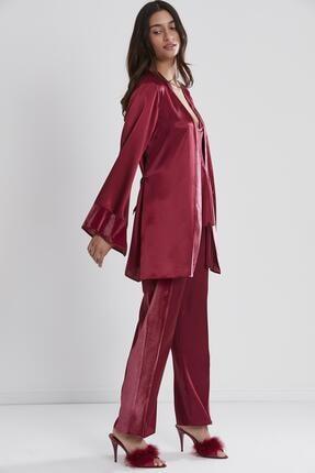 Pierre Cardin Kadın Kadife Saten 3'lü Pijama Takım - 2040 Bordo 2