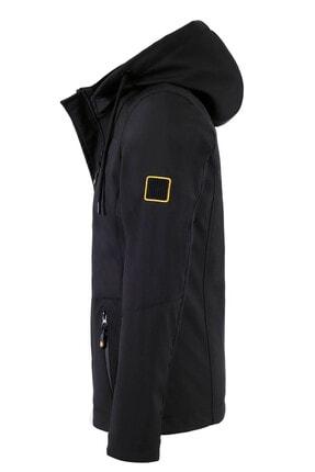 Gavazzi Erkek Siyah Kapüşonlu Softshell Su Ve Rüzgar Geçirmez Cep Detaylı Içi Kürklü Kapüşonlu Mont 2