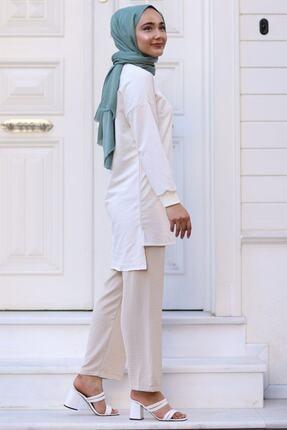 Moda Bu Huban Moda Kadın Bej Beli Lastikli Bol Paça Salaş Yazlık Pantolon Aerobin-865829 Aerobin-865829 2