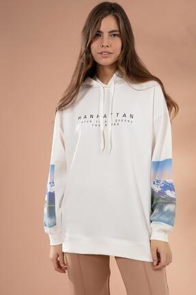 Pattaya Kadın Beyaz Kol Detaylı Kapşonlu Sweatshirt P20W-4128 2
