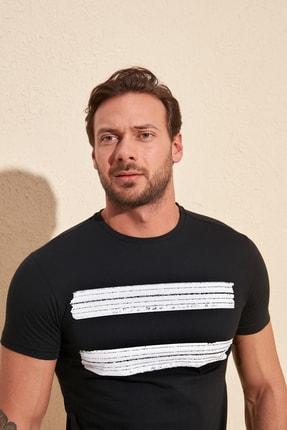 TRENDYOL MAN Siyah Erkek Baskılı Slim Fit T-Shirt TMNSS20TS0092 2