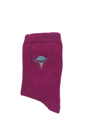 Bequeme Uzay Astronot Desenli Nakışlı Kokulu Renkli Çorap 6'lı 4