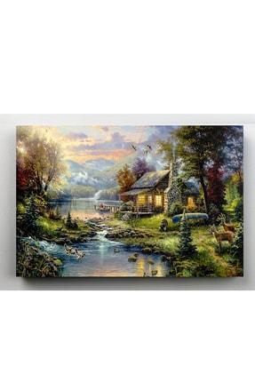 hanhomeart Orman Evi Göl Yağlı Boya Görünüm Kanvas Tablo 60x120cm 1