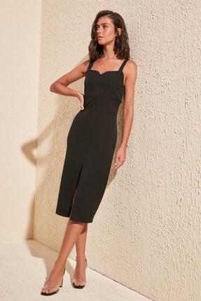 TRENDYOLMİLLA Siyah Yırtmaçlı Elbise TWOSS19BB0216 1