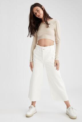 Defacto Kadın Beyaz Culotte Jean Pantolon 4