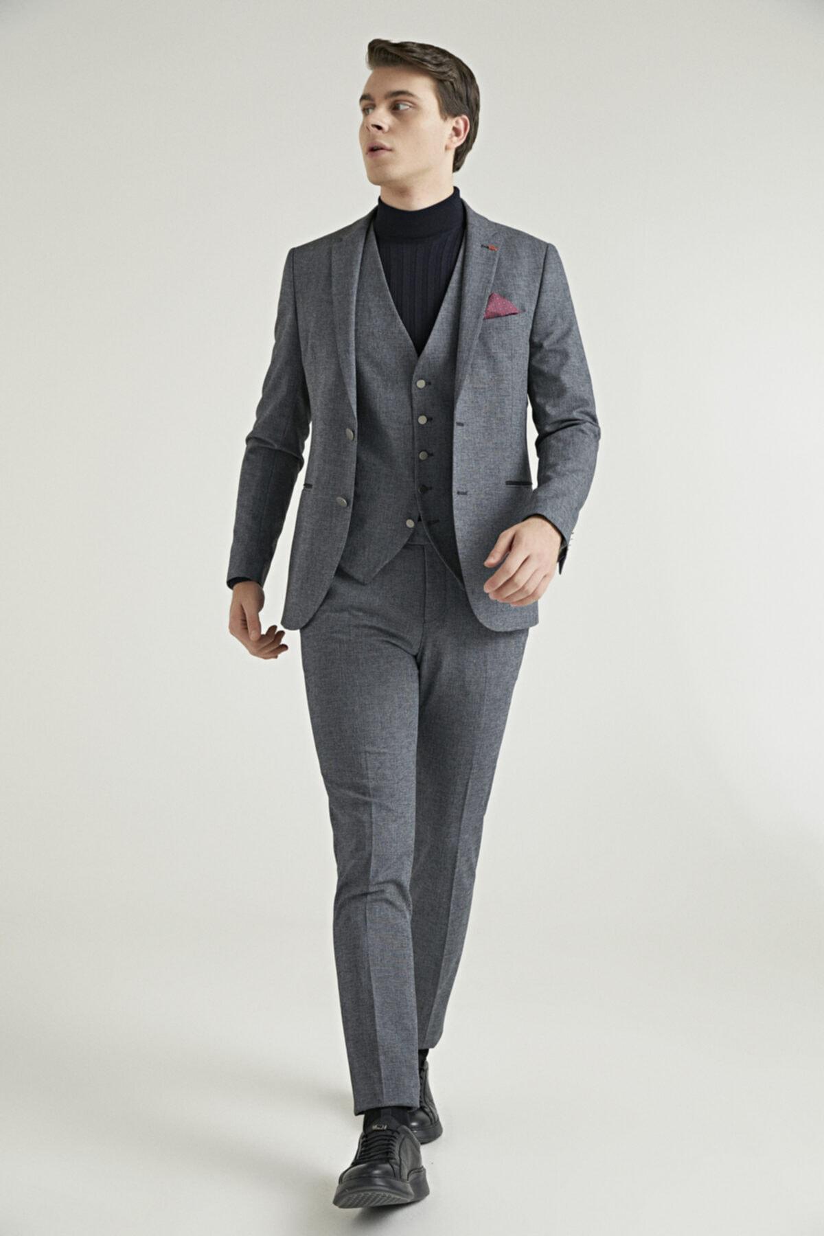 Erkek Antrasit Armürlü Yelekli Takım Elbise