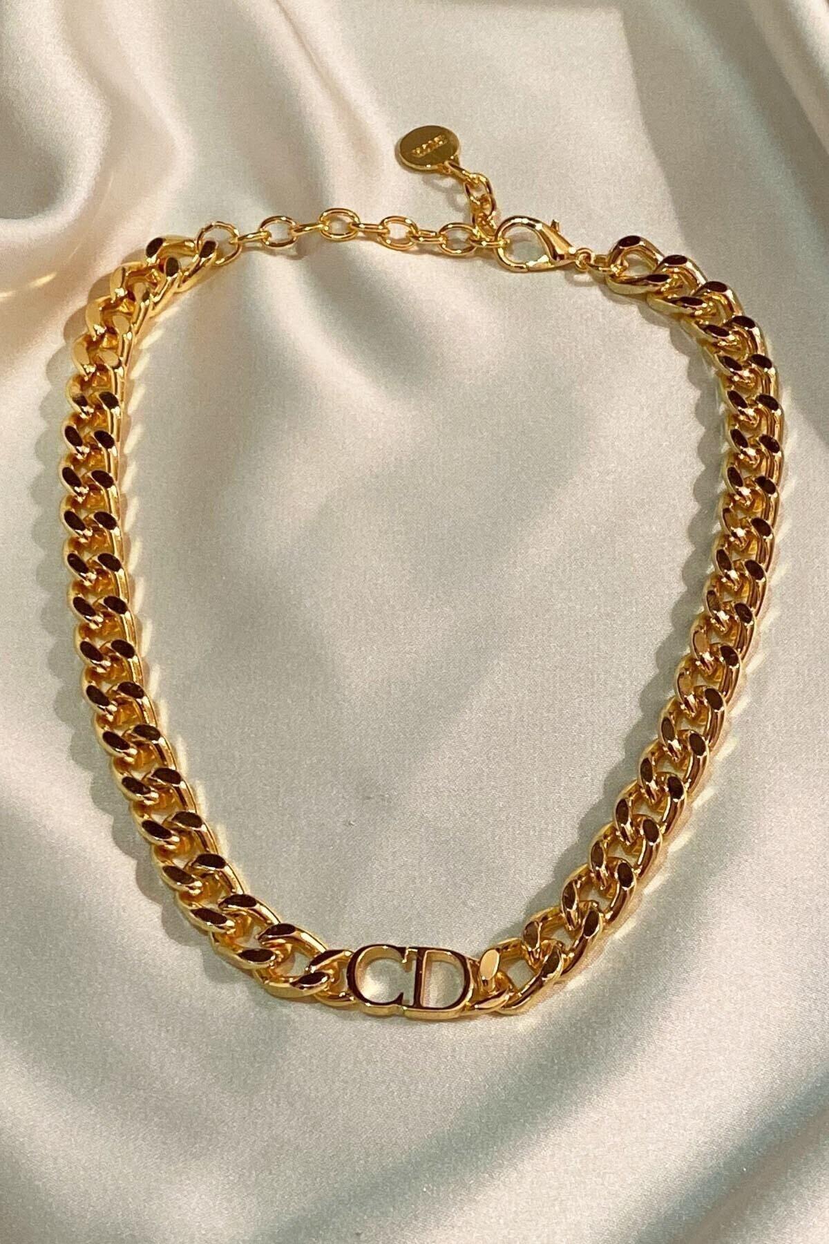 Kadın Gold Cd Harfli Christian Dio Model Kalın Zincir Kolye