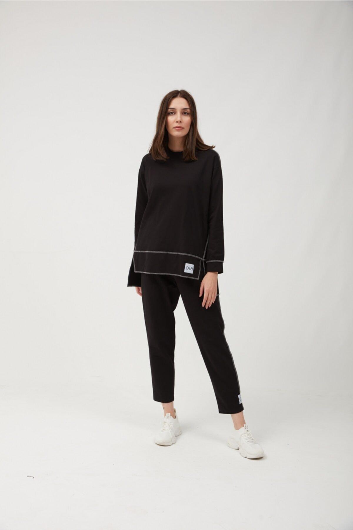 Kadın  Siyah Pamuklu Tunik Pantolon Takım