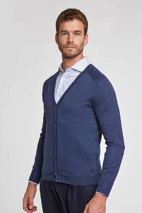 Hemington Erkek Düğmeli Slim Fit Koyu Mavi Merino Yün Hırka 0