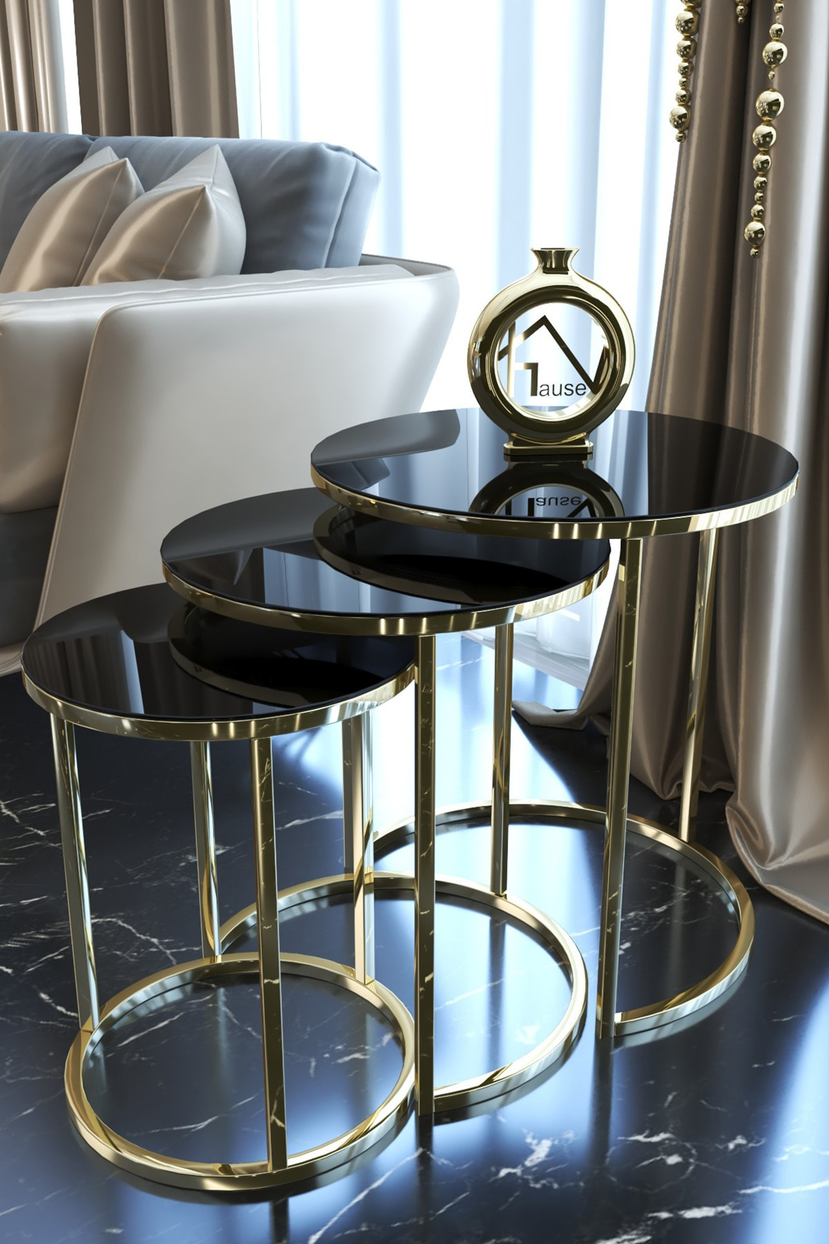 Gold Metal Zigon Sehpa ''kırılmaz Siyah Cam ''