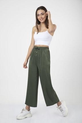 MD trend Kadın Haki Bel Lastikli Bağcıklı Bol Paça Salaş Pantolon 2
