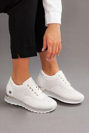 Kadın Hakiki Deri Beyaz Dolgu Topuklu Ayakkabı • A212ydyl0032 A212YDYL0032